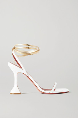 Amina Muaddi Henson Chain-embellished Leather Sandals - White