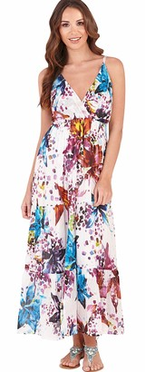 Dannii Matthews Womens Floral Print Strappy Maxi Dress with Crossover V Neck
