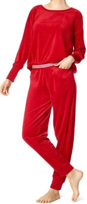 Hue Women's Velour Long Sleeve Tee and Cuffed Jogger 2 Piece Lounge Set