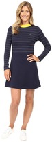 Lacoste L!ve Contrast Mock Neck Striped Fit and Flare Dress