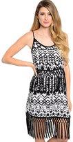 2LUV Women'sSpaghetti Strap Sun Dress W/ Fringe Trim M (D50494)