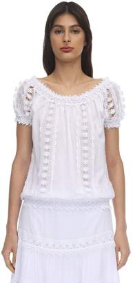 Charo Ruiz Ibiza Maca Embellished Cotton Lace Top