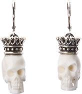 King Baby Studio Crowned White Bone Skull Leverback Earrings