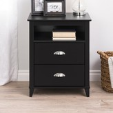 Beachcrest Home Pembrooke Traditional 2 Drawer Nightstand Color: Black
