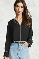 Forever 21 Collarless Contrast-Trim Shirt