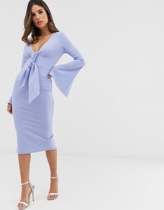 ASOS DESIGN long sleeve plunge tie belt midi dress