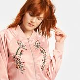 Romeo & Juliet Couture Ladies Woven Long Sleeve Flower Embroidered Varsity Jacket