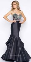 Mac Duggal Strapless Sweetheart Jewel Embellished Satin Pleated Mermaid Dress