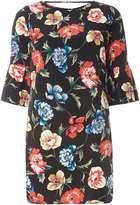 Dorothy Perkins Petite Multi Floral Flute Sleeve Shift Dress
