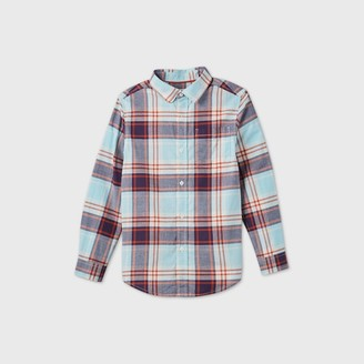 Cat & Jack Boy' Long leeve Button-Down Poplin Plaid hirt - Cat & JackTM