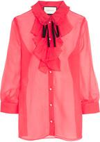 Gucci Ruffled Crinkled Silk-chiffon Blouse - Crimson