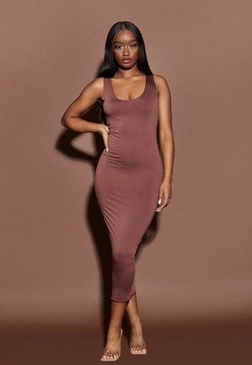 Missguided Nude Chocolate Raw Edge Slinky Racer Midaxi Dress