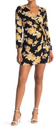 Lush Floral Long Sleeve Wrap Mini Dress