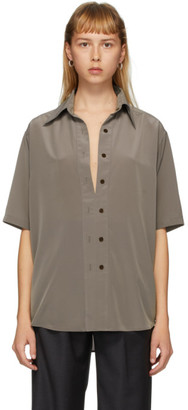 Eftychia Taupe Closed Short Sleeve Shirt