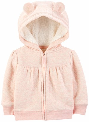 Simple Joys by Carter's Girls' Hooded Sweater Jacket with Sherpa Lining