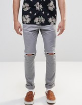 Asos Skinny Cotton Pants In Gray With Knee Rip