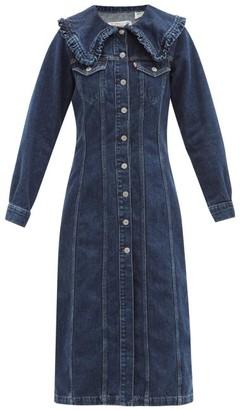 Ganni X Levis Ruffled-collar Denim Shirt Dress - Dark Denim