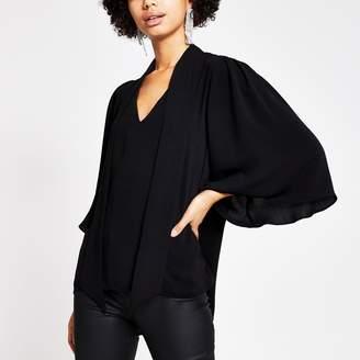 River Island Womens Black tie V neck choker blouse