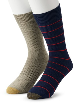 Gold Toe Men's GOLDTOE Casual Textured Crew Socks (2-Pack)
