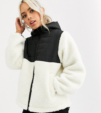 ASOS DESIGN Petite fleece jacket with contrast animal in cream