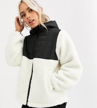 Asos DESIGN Petite fleece jacket with contrast animal in cream