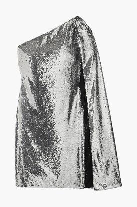 Stella McCartney One-shoulder Draped Sequined Crepe De Chine Mini Dress