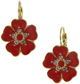 1928 Jewelry Gold-Tone Pink Enamel and Crystal Flower Drop Earrings
