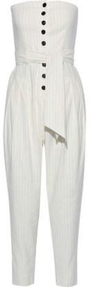 Marissa Webb Nikos Strapless Striped Canvas Jumpsuit
