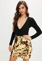 Missguided Gold Sequin Mini Skirt