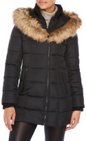 Laundry by Design Faux Fur Trim Hooded Puffer Coat