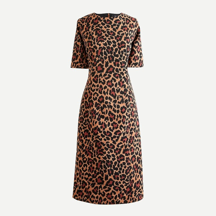Thumbnail for your product : J.Crew Petite elbow-sleeve sheath dress in leopard bi-stretch cotton