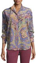 Etro Paisley-Print Silk Blouse, Purple