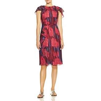 Halston Women's Flutter Short Sleeve High-Neck Dress