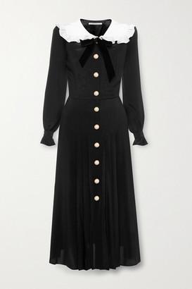 Alessandra Rich Ruffled Pleated Silk Midi Dress - Black
