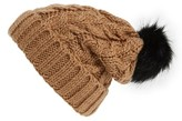 BP Women's Knit Beanie With Faux Fur Pompom - Brown