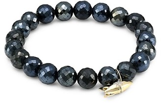 Sydney Evan 14K Yellow Gold, Black Spinel & Diamond Rocket Charm Beaded Bracelet