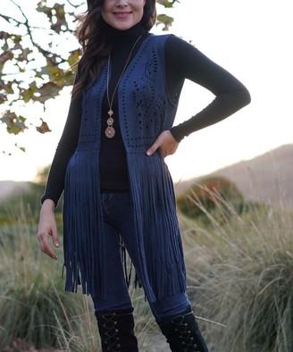 Ananda's Collection Women's Open Cardigans NAVY - Navy Perforated Swirl Long-Fringe Open Vest - Women
