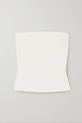 A.W.A.K.E. Mode Button-detailed Strapless Crepe Top