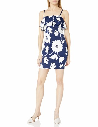 GUESS Women's Navy and White Puffed Printed Scuba Dress 2