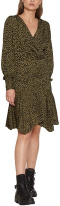Walter Baker Shara Long Sleeve Faux Wrap Flounce Dress
