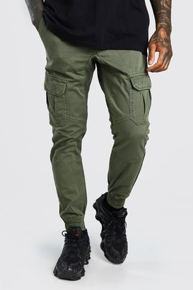 boohoo Mens Green Skinny Fit Cargo Trouser With Cuff, Green