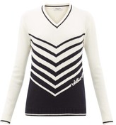 Valentino Chevron-stripe Wool-blend Sweater - Womens - Ivory Multi