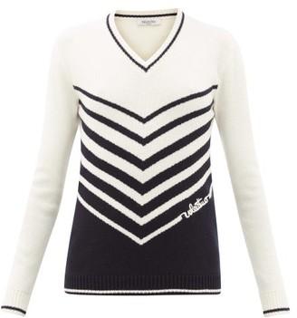 Valentino Chevron-stripe Wool-blend Sweater - Womens - Ivory Multi