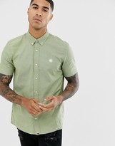 Pretty Green short sleeve oxford shirt in khaki