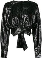 MSGM Leopard Print Sequin Top