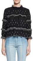 Etoile Isabel Marant Daniela Boxy Embroidered Ruffle Blouse, Black