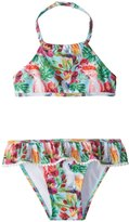 Snapper Rock Girls' Tropical Birds Halter Bikini Set (2T14) - 8155086
