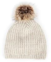 Sole Society Mixed Knit Beanie w/ Faux Fur Pom