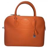 Hermes Orange Leather Handbag Bolide