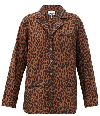 Ganni Leopard-print Cotton-poplin Shirt - Brown